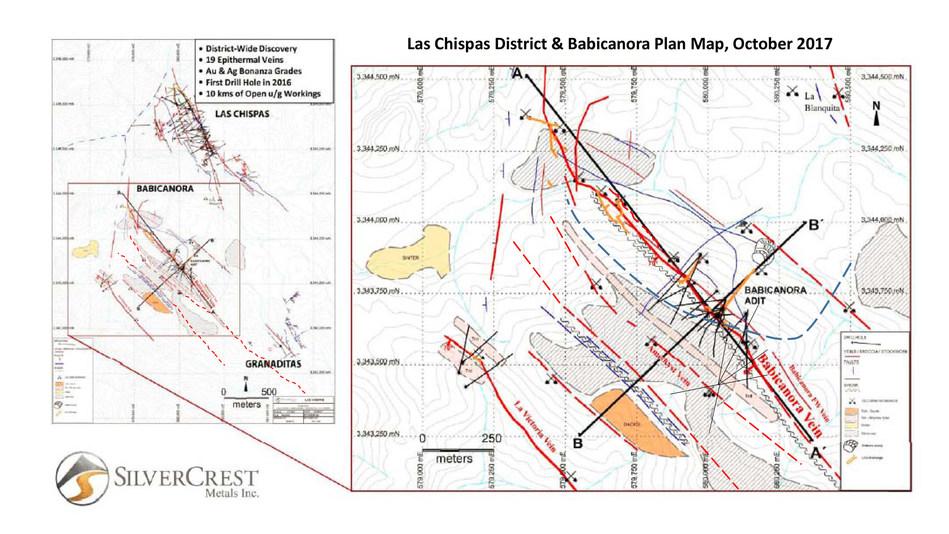 Las Chispas District & Babicanora Plan Map, October 2017 (CNW Group/SilverCrest Metals Inc.)