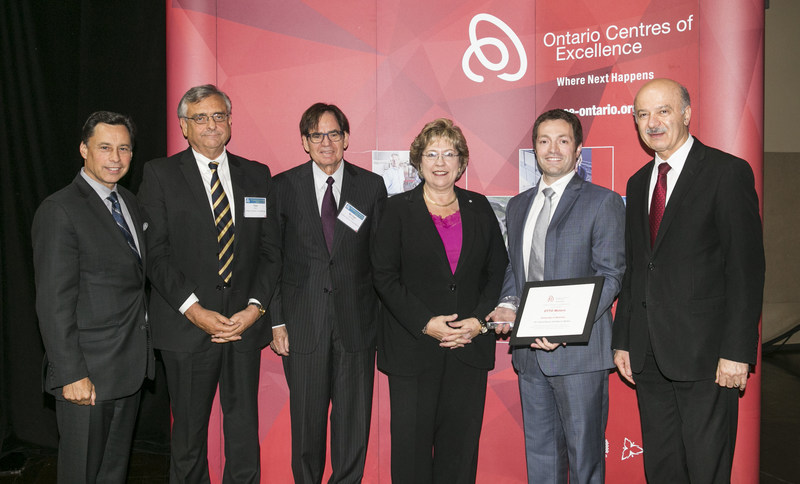 L-R Minister Brad Duguid, Dr. Tom Corr, Michael Nobrega, Janet Ecker, Matt Rendall, CEO of Clearpath Robotics, Minister Reza Moridi. (CNW Group/Ontario Centres of Excellence Inc.)