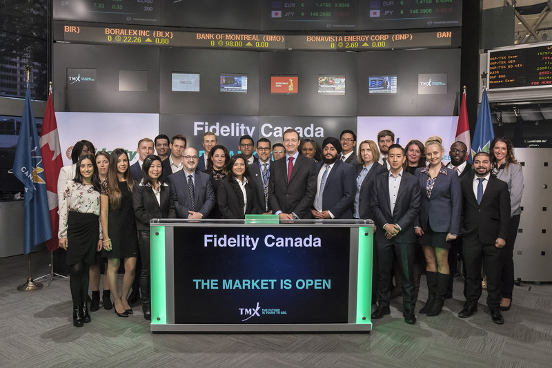 Andrew Wells, Vice Chairman, Fidelity Canada joined Nick Thadaney, President & CEO, Global Equity Capital Markets to open the market to mark Fidelity's 30th anniversary in Canada. Established in Canada in 1987, Fidelity Canada is part of the global Fidelity Investments organization, one of the world's largest providers of financial services. Headquartered in Toronto, Fidelity has more than 1000 employees across Canada, and currently manages a total of $133 billion in mutual fund and institutional assets. (CNW Group/TMX Group Limited)
