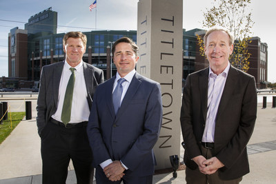 Mark Murphy, president & CEO, Green Bay Packers; Ed Policy, vice president & general counsel, Green Bay Packers; and Brad Smith, president, Microsoft, [pictured left-to-right] in Green Bay's Titletown District, adjacent Lambeau Field, to announce TitletownTech.