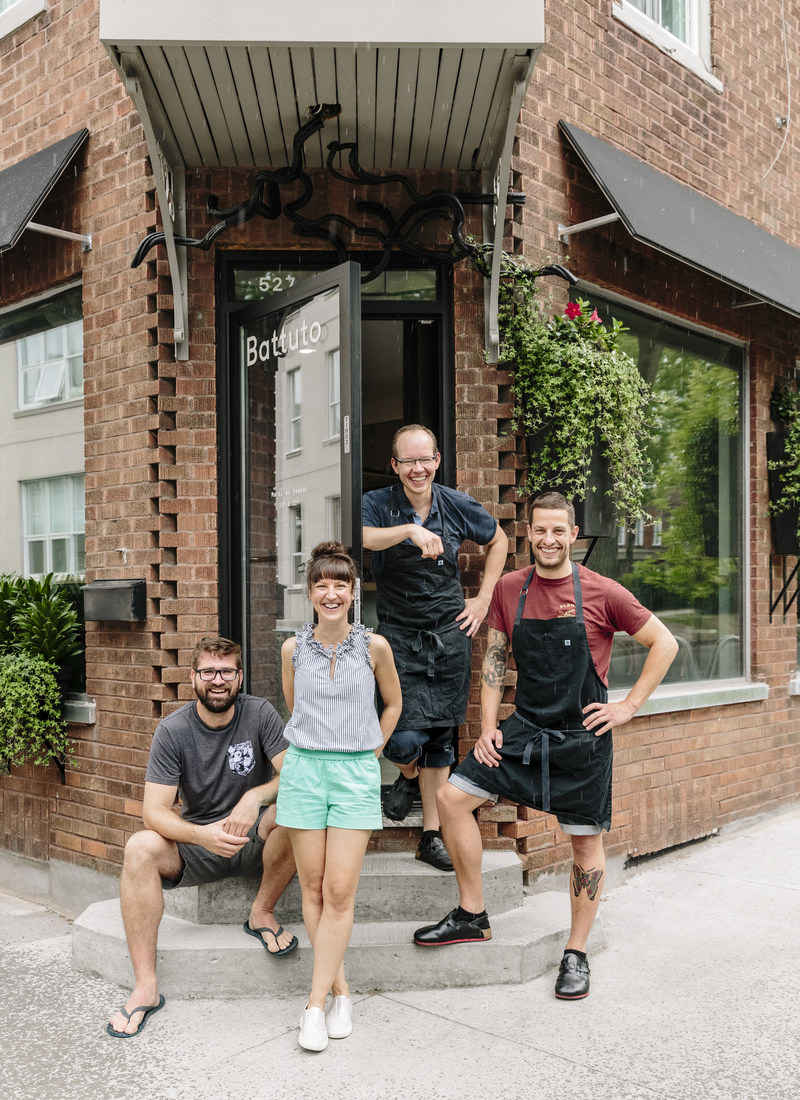 Battuto staff, L to R: Pascal Bussieres (sommelier and partner), Amelie Pruneau (server), Paul Croteau (Pastry Chef and partner), Chef Guillaume St-Pierre outside Battuto (PHOTO CREDIT: ALANNA HALE) (CNW Group/Air Canada)