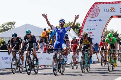 Gaviria from Belgium Quick-Step Floors cycling team wins the first stage of the Tour of Guangxi.