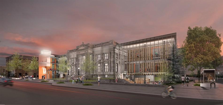 Esquisse de la future Bibliothèque Maisonneuve, fournie par Dan Hanganu architectes et EVOQ Architecture. (Groupe CNW/Ville de Montréal - Cabinet du maire et du comité exécutif)