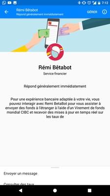 Rémi, le robot de la Banque CIBC, aide les clients à envoyer plus facilement des fonds à l'étranger grâce à Facebook Messenger (Groupe CNW/Banque CIBC)