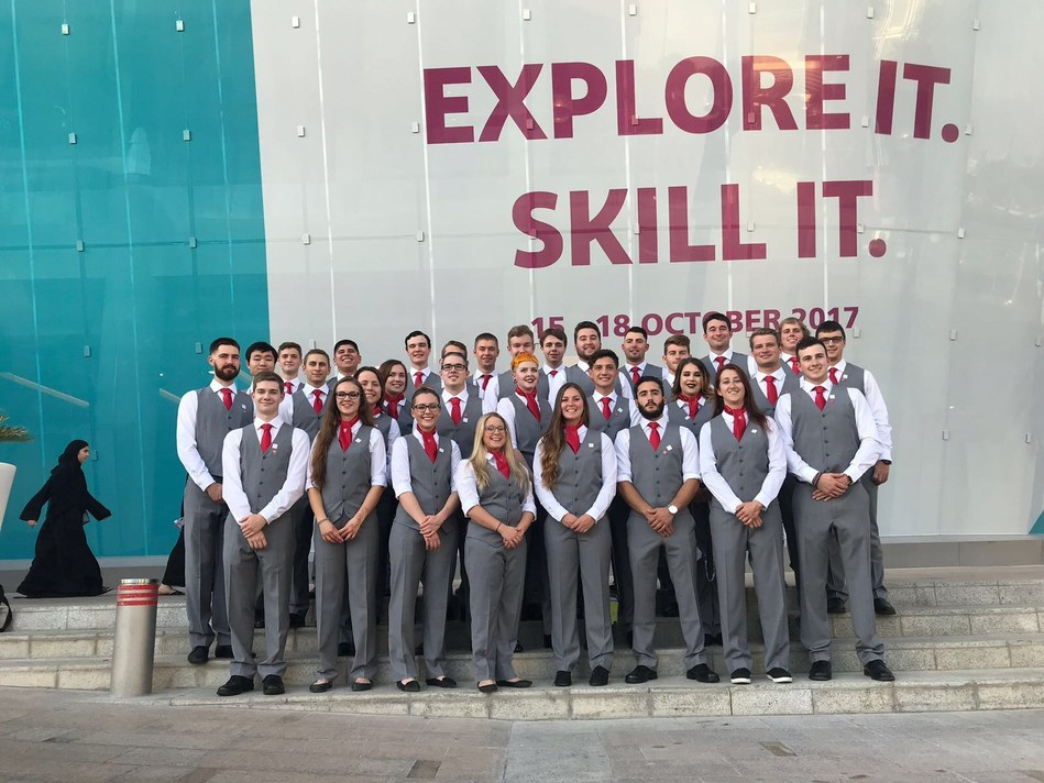 WorldSkills Team Canada 2017 arrives at Du Arena in U.A.E. for the WorldSkills Abu Dhabi 2017 Closing Ceremonies on October 19th. Photo credit: Skills/Compétences Canada. (CNW Group/Skills/Compétences Canada)
