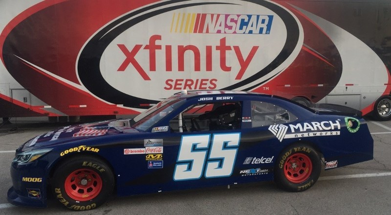 Josh Berry will drive the Xfinity NextGen #55 in the NASCAR Kansas Lottery 300 on October 21 in Kansas City. (CNW Group/MARCH NETWORKS CORPORATION)