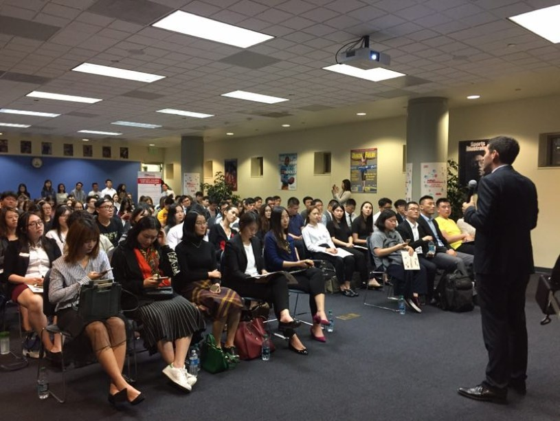 HNA ITP Alum Jared Mazzanti talks to students at UCLA about the program