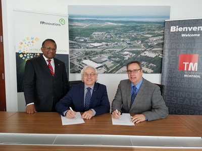 From left to right: Saint-Laurent Borough Mayor Alan DeSousa, Mr. Pierre Lapointe; President and Chief Executive Officer of FPInnovations; Mr. Mario Monette, President and CEO of Technoparc Montréal (CNW Group/Technoparc Montréal)