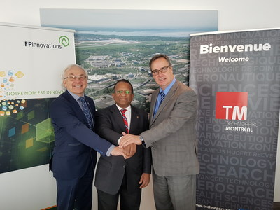 From left to right: Mr. Pierre Lapointe, President and Chief Executive Officer of FPInnovations; Saint-Laurent Borough Mayor Alan DeSousa; Mr. Mario Monette, President and CEO of Technoparc Montréal (CNW Group/Technoparc Montréal)