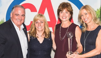 From left to right:, CAA National Board Chairman Dale Knox, National Sales Representative AmaWaterways Sandra Gardner, Director Travel Services CAA National Cathy McManaman, and Executive Vice President & Co-Owner AmaWaterways Kristin Karst. (CNW Group/Canadian Automobile Association)