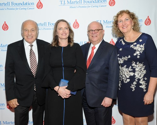 Attending the T.J. Martell Foundation's 42nd New York Honors Gala was (l to r) Doug Morris, honoree Sarah Stennett, Joel Katz and honoree Julie Swidler.