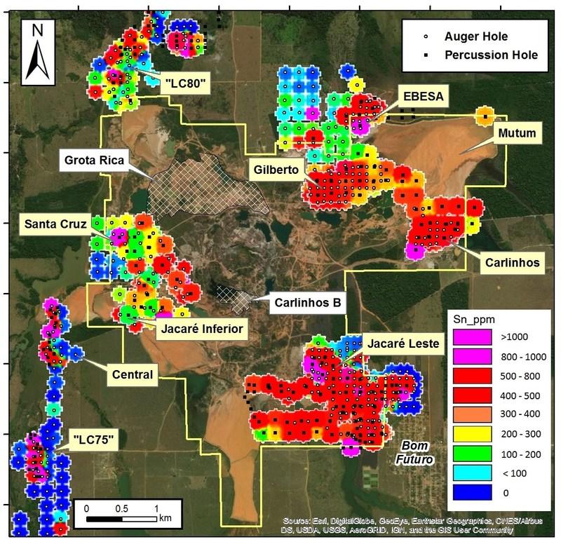Figure 1: Gridded assay data from auger and percussion program drilling program. Areas yet to be drilled include the newly allocated areas at Grota Richa and Carlinhos B (illustrated with hatching), and parts of the Jacaré Inferior and Mutum basins which are water-covered. (CNW Group/Meridian Mining S.E.)