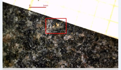 Photo 1: Sample 243174 (642 g/t gold), visible gold (in red box) found as disseminated grains in biotite-quartz granofels. (CNW Group/Mawson Resources Ltd.)