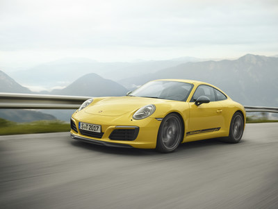 With the 911 Carrera T, Porsche is reviving the puristic concept behind the 911 T of 1968: less weight, shorter transmission ratios from the manual gearbox and rear-wheel drive with mechanical rear differential lock for an enhanced performance and intense driving pleasure. (CNW Group/Porsche Cars Canada)