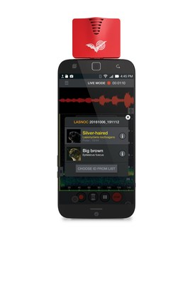 Android phone with a Wildlife Acoustics EMT2 for Android module used for detecting, recording, and identifying bats. (PRNewsfoto/Wildlife Acoustics)