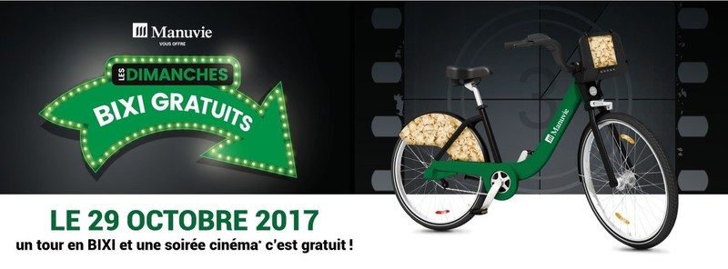 Free movie night on the next Free BIXI Sunday offered by Manulife (CNW Group/Bixi Montréal)