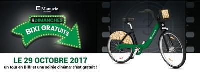 Une soirée cinéma gratuite lors du prochain dimanche BIXI gratuit offert par Manuvie (Groupe CNW/Bixi Montréal)