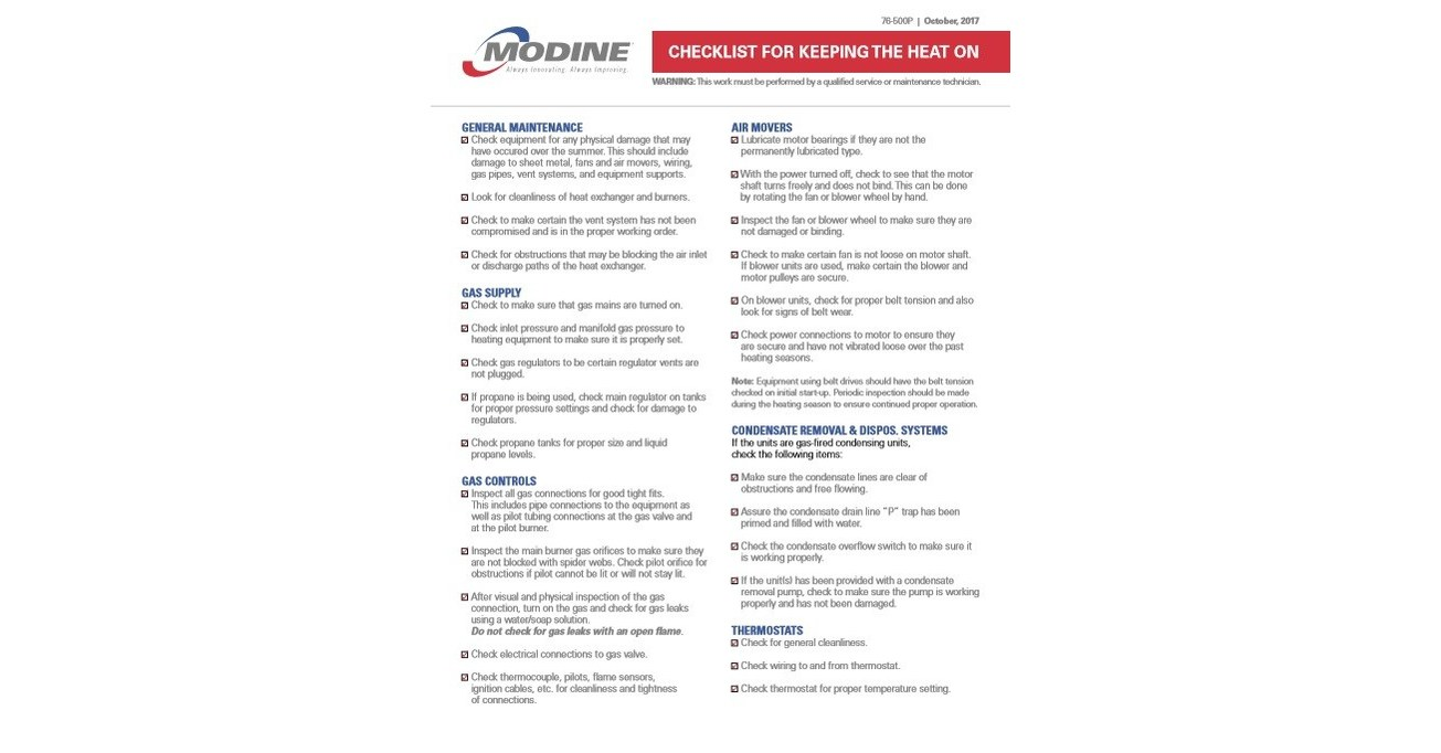 Modine Provides Winter Checklist to Help Keep the Heat On