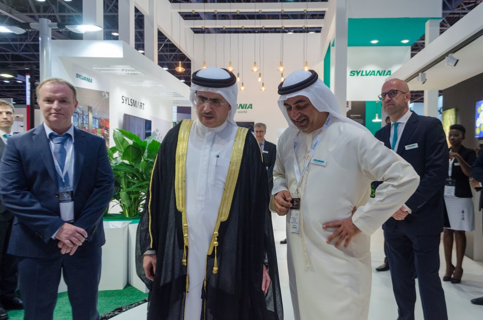 Mr. Saeed Mohammed Ahmed Al Tayer Chief Executive Officer, Managing Director and Director, Dubai Electricity and Water Authority with Sylvania Middle East Chairman Mr. Rashid AL Noori at the Stand. (PRNewsfoto/Sylvania)