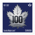 100th Anniversary Toronto Maple Leafs silver logo stamp (CNW Group/Canada Post)