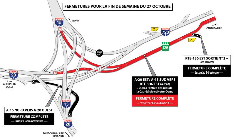Projet Turcot - Fermetures dans le secteur de l'échangeur Turcot durant la fin de semaine du 27 octobre 2017 (Groupe CNW/Ministère des Transports, de la Mobilité durable et de l'Électrification des transports)