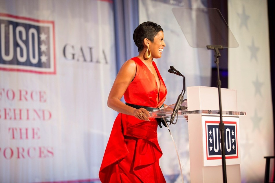 Master of Ceremonies Tamron Hall makes remarks during the 2017 USO Gala on October 19 in Washington, D.C.  USO Photo by Joseph A. Lee