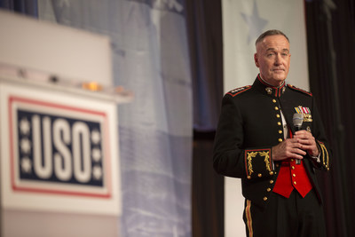 Chairman of the Joint Chiefs of Staff, Marine Gen. Joseph F. Dunford, makes remarks during the 2017 USO Gala on October 19 in Washington, D.C.  USO Photo by Joseph A. Lee