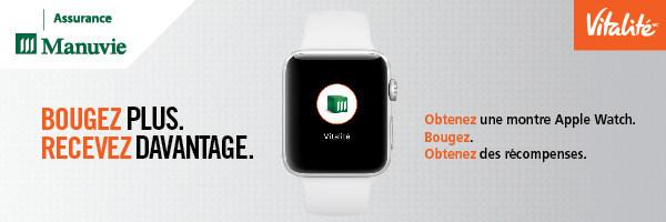 Le programme Manuvie Vitalité offre désormais une montre Apple Watch afin d'inciter les participants à avoir un mode de vie plus actif (Groupe CNW/Société Financière Manuvie)