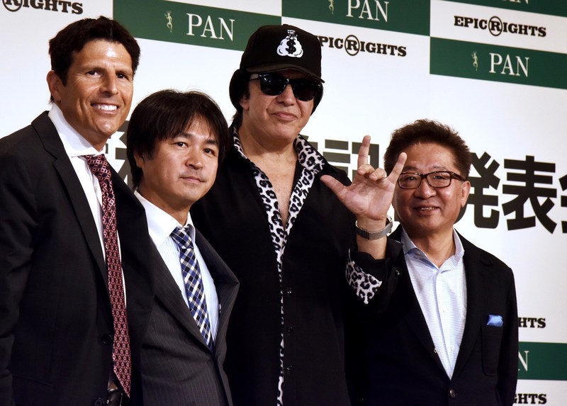(L-R) Epic Rights' Dan Levin, Kunihiro Tsuji, CE0 Pan, Inc., Gene Simmons of legendary KISS, Tomohisa Murase, EVP & CFO, Pan, Inc.