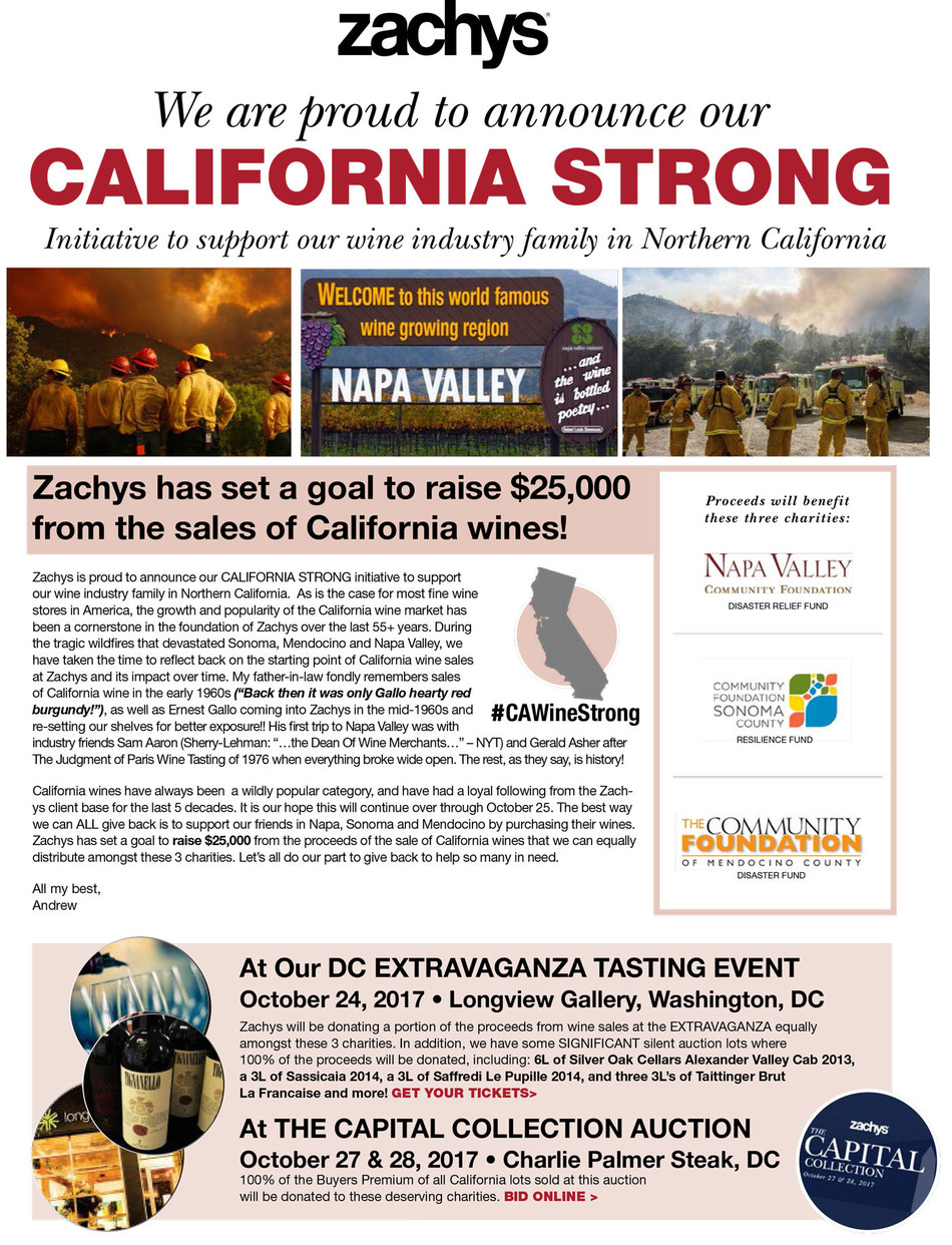 Zachys, the national fine wine retailer and global auction house launches initiative to benefit three Northern California relief funds. Efforts include donating a portion of proceeds from California wine sales, holding a 16-lot silent auction where 100 percent of the proceeds will benefit the three noted charities and more.