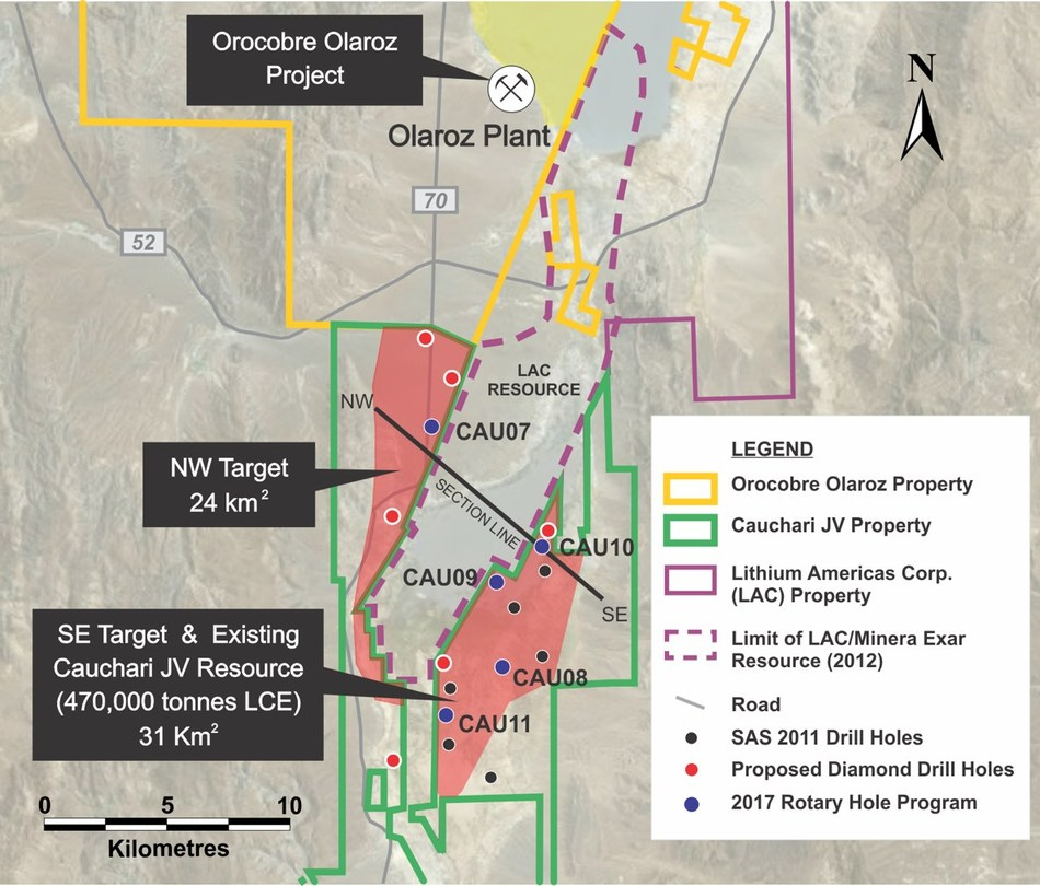 Figure 1: Location of the CAU10 and CAU09 drill holes relative to previous drilling (CNW Group/Advantage Lithium Corp)
