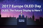 "Sang-Deog Yeo, Chief Marketing Officer of LG Display, is unveiling the company's strategic plan with OLED technology at ""EUROPE OLED DAY"" symposium held in Munich, Germany"