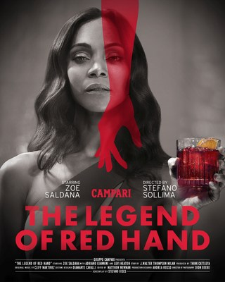Zoe Saldana announced as the star of The Legend of Red Hand short movie for Campari Red Diaries, aside Adriano Giannini and directed by Stefano Sollima. Credit: Matteo Bottin (PRNewsfoto/Campari)