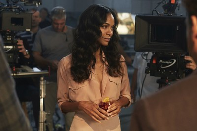 Zoe Saldana behind the scenes at the filming of the Campari Red Diaries short movie, The Legend of Red Hand. Credit: Francesco Pizzo (PRNewsfoto/Campari)