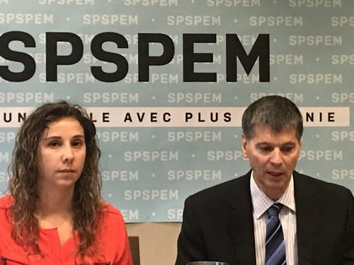 In the picture, from left to right : Gisella Gesuale, vice-president, and André Émond, president of the SPSPEM. (CNW Group/Syndicat professionnel des scientifiques à pratique exclusive de Montréal (SPSPEM))