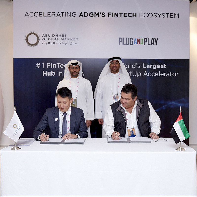 ADGM and Plug and Play sign a new partnership to launch a startup accelerator program in Abu Dhabi, focused on Fintech.  From left to right: H.E Saif Al Mohammed Al Hajeri, Chairman of the Department of Economic Development, H.E Ahmed Al Sayegh, Chairman, of ADGM, Mr Richard Teng, CEO, Abu Dhabi Global Market, Mr Saeed Amidi, Founder and CEO, Plug and Play