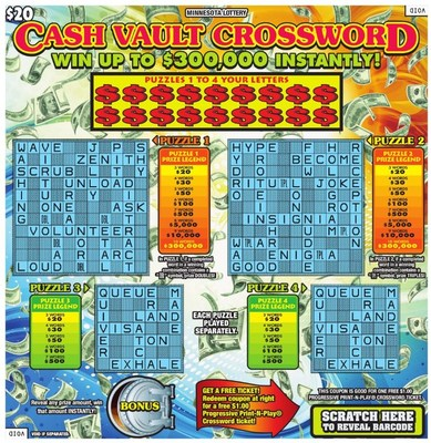 Minnesota Lottery's Cash Vault Crossword (CNW Group/Pollard Banknote Limited)