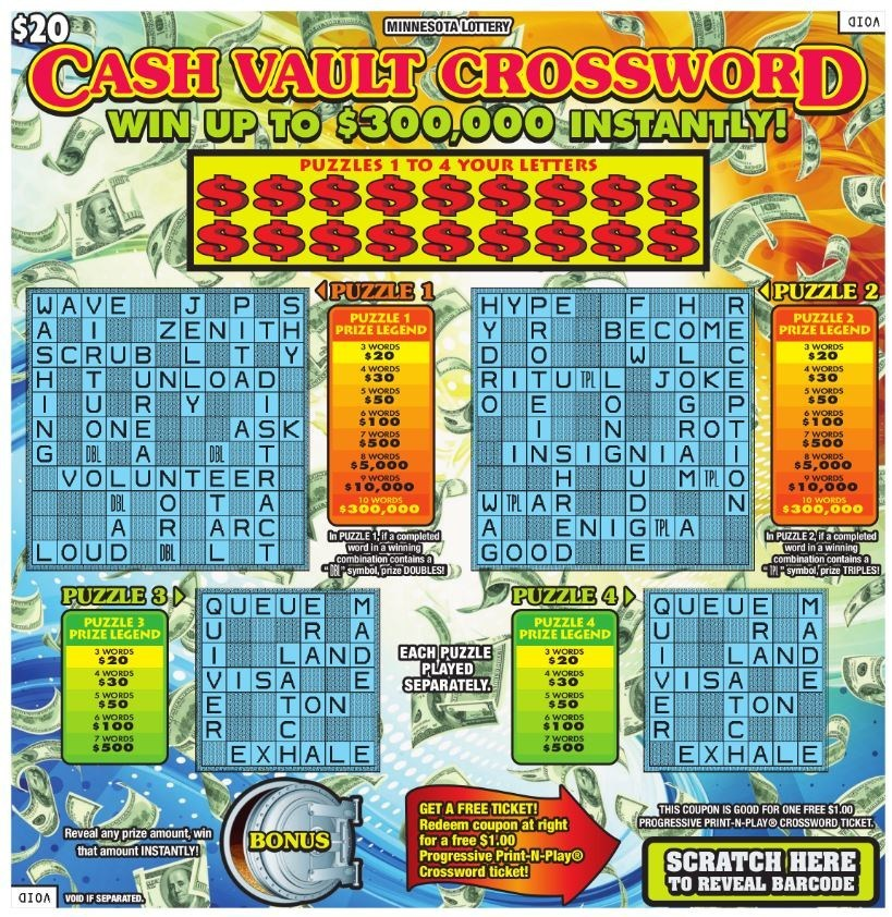 Minnesota Lottery's Cash Vault Crossword (CNW Group/Pollard Banknote Limited)
