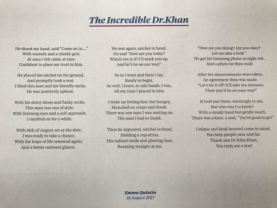 The Incredible Dr. Khan – a poem dedicated to the Moorfields Eye Hospital Dubai consultant by a grateful patient (PRNewsfoto/Moorfields Eye Hospital Dubai)