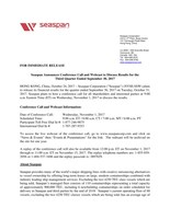 Seaspan Announces Conference Call and Webcast to Discuss Results for the Third Quarter Ended September 30, 2017 (CNW Group/Seaspan Corporation)