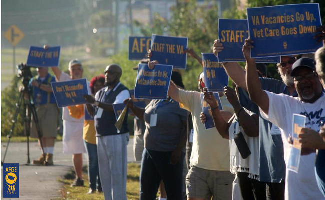 The AFL-CIO has pledged to fight efforts to privatize veterans' health care and restore due process rights for VA workers. The American Federation of Government Employees has been working to improve veterans' access to health care, holding rallies outside VA facilities like the one here in St. Louis, Mo.