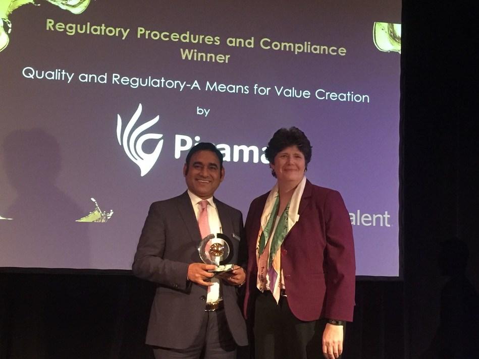 Vivek Sharma, CEO – Piramal Pharma Solutions (Left) receives the award for Regulatory Procedures & Compliance at CPhI Pharma Awards (PRNewsfoto/Piramal Pharma Solutions)