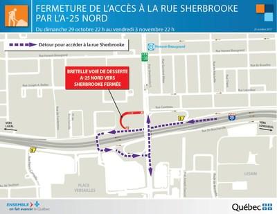 Optimisation du corridor de l'autoroute 25 et amélioration des accès au port de Montréal - Fermeture d'une bretelle de l'échangeur Sherbrooke (Groupe CNW/Ministère des Transports, de la Mobilité durable et de l'Électrification des transports)
