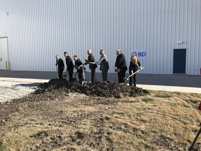 BD broke ground today on the $60 million expansion of its Columbus-East facility. Pictured from left to right are: Columbus City Councilman John Lohr, BD Columbus-West Plant Manager Duane Ostdiek, BD Chief Supply Chain Officer Jim Borzi, Governor Pete Ricketts, Columbus Mayor Jim Bulkley, BD Columbus-East Plant Manager Bill Campbell and BD Plastic Injection Molding Manufacturing Plant Manager Laurie Reagan.