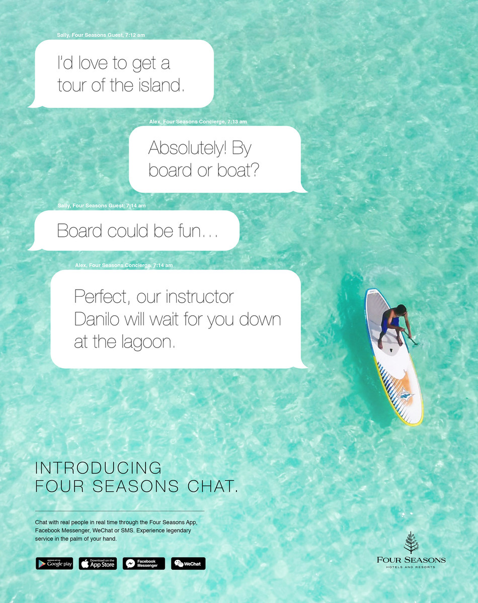 Introducing Four Seasons Chat: world renowned Four Seasons service in 100+ languages at the touch of a (send) button.