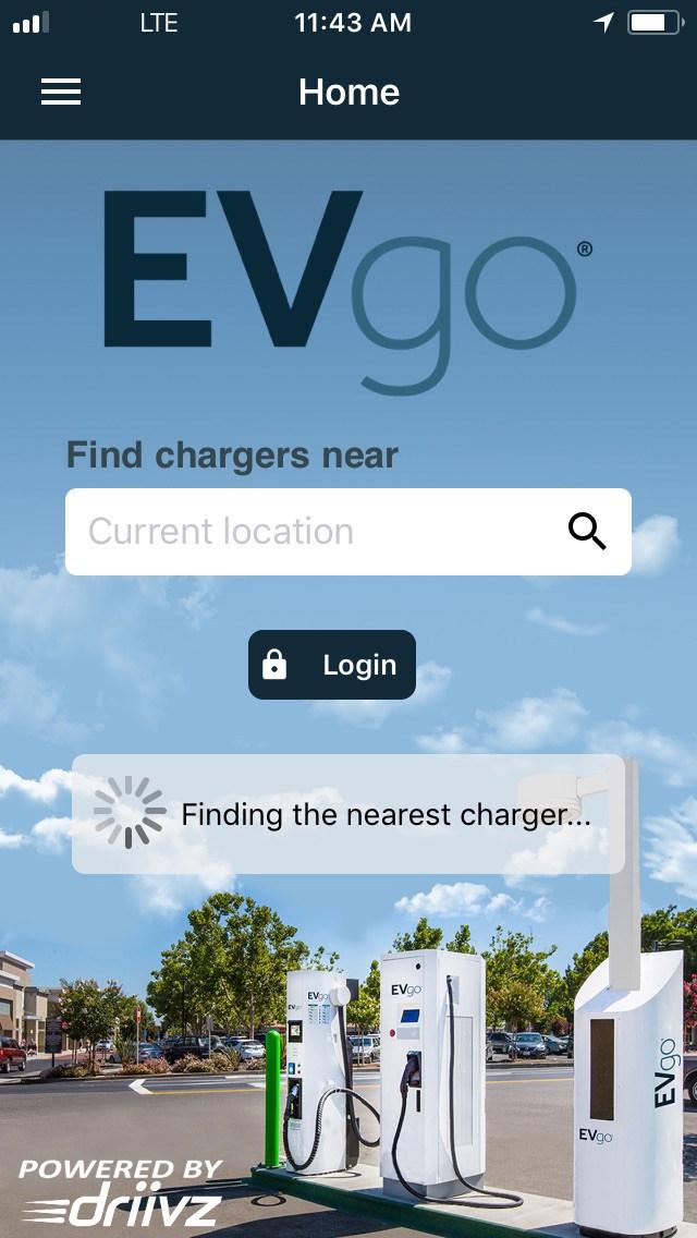 EVgo Mobile App homescreen