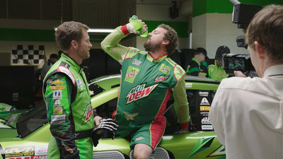 Danny McBride and Dale Earnhardt Jr. on the set of the Mountain Dew brand's Dewey Ryder TV commercial shoot