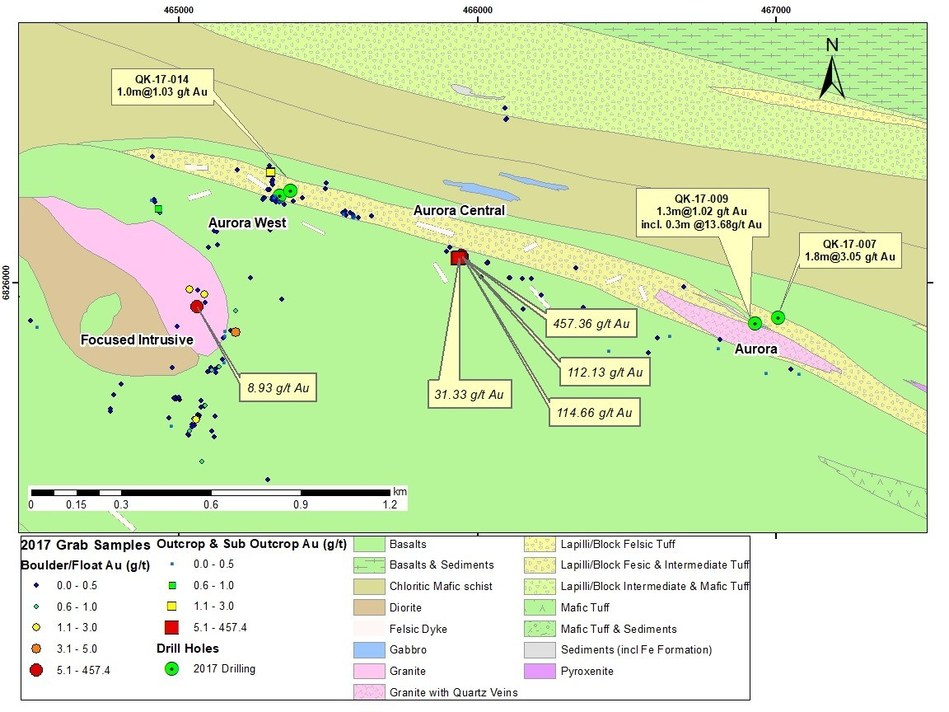 Figure 3: Aurora and Aurora West Areas 2017 Drill Hole Locations and Significant Surface Samples (CNW Group/Orford Mining Corporation)