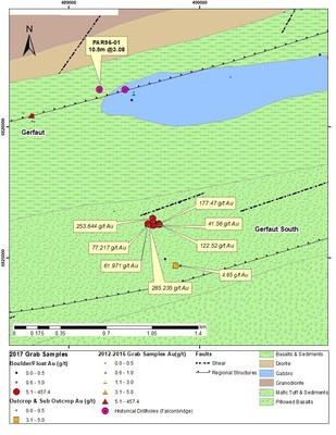 Figure 5: Gerfaut Area 2017 Significant Surface Samples (CNW Group/Orford Mining Corporation)