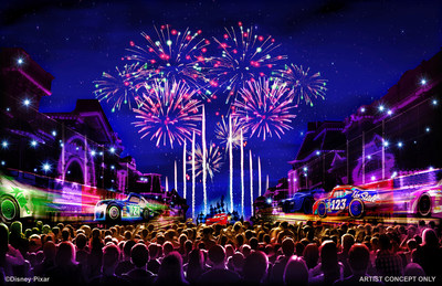"TOGETHER FOREVER FIREWORKS – ""Together Forever – A Pixar Nighttime Spectacular,"" celebrates Pixar stories through the decades as it lights up the sky over Disneyland park, beginning with the debut of Pixar Fest, April 13, 2018. This artist concept illustrates how guests will be immersed in an emotional journey that begins with the meeting of unlikely Pixar pals and follows them through their adventures. The show comes to life through projections on iconic park locations. (Disneyland Resort)"